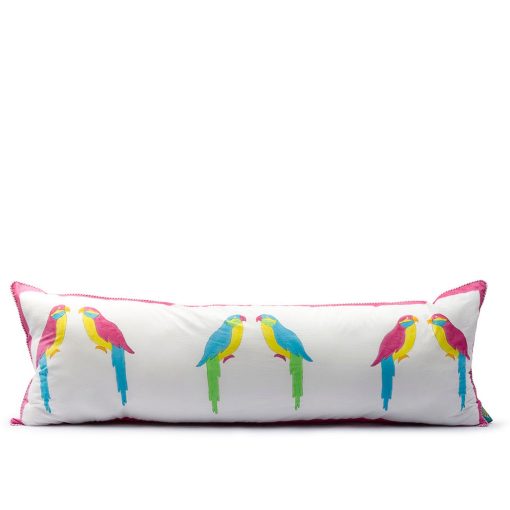 Very long green parrot cushion