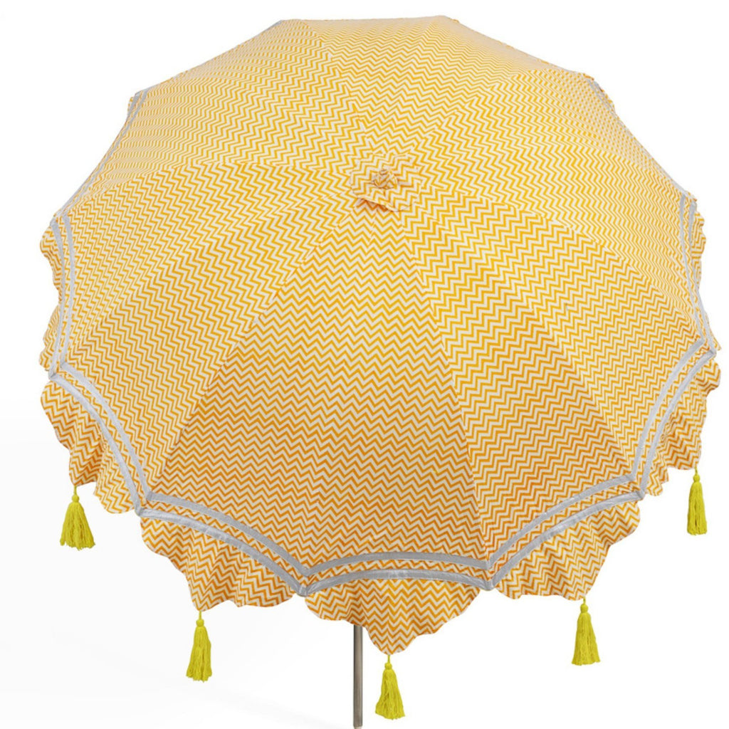 East London Parasol Company orange aretha zig zag and yellow tassel indian 2m garden umbrella. Cotton block print with tilt mechanism.