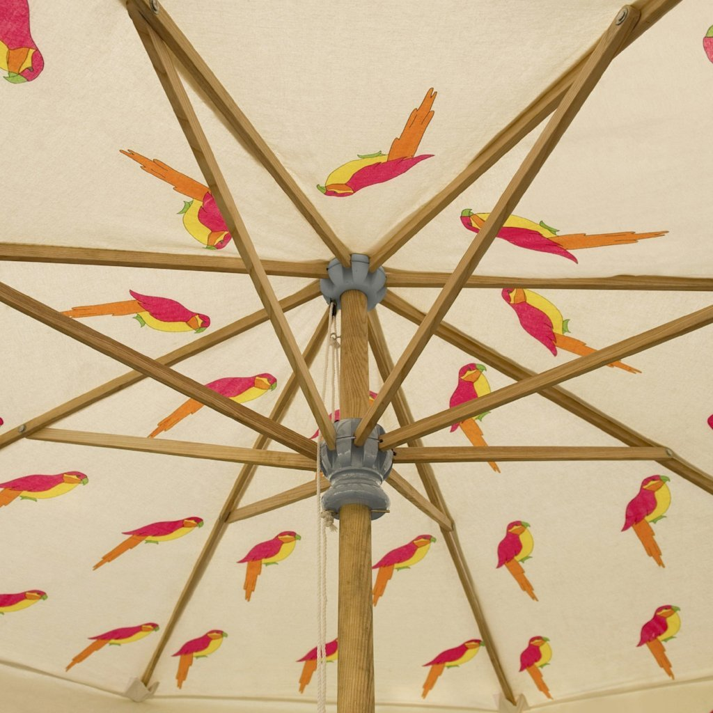 East London Parasol Company Big David Garden umbrella 3m waterproof wooden parasol with tassels and printed parrots