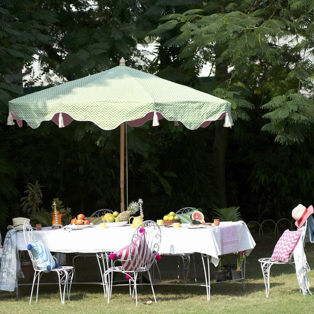 East London Parasol Company Big Green and pink Aretha Garden umbrella zig zag Orange and Yellow 3m wooden parasol with tassels