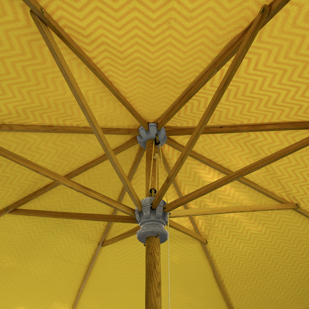East London Parasol Company Big Aretha Garden umbrella zig zag Orange and Yellow 3m wooden parasol with tassels