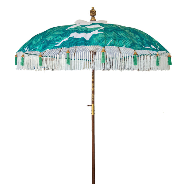 Meryl East London Parasol Company white and palm print bali parasol waterproof canvas