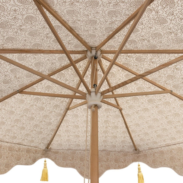 Big Liberace cream and gold canvas garden umbrella or parasol with gold tassels and gold block print