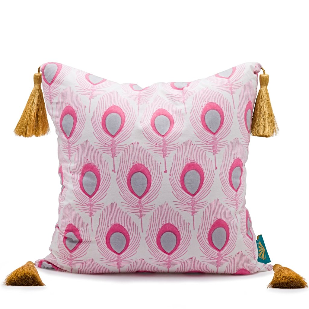 Pink and grey peacock cushion from East London Parasol company. With gold tassles block printed in India