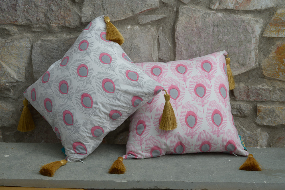 Pink grey peacock block print cushion outdoor summer decoration