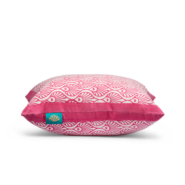 Pink block print cushion