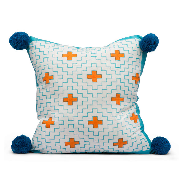 Turquoise and Orange Diamond Cushion