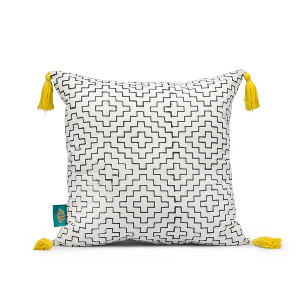 Black diamond cushion with yellow tassels