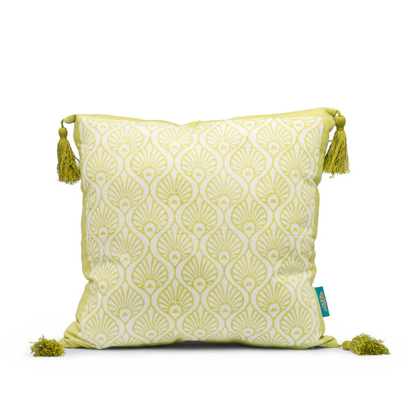 lime green block print cushion