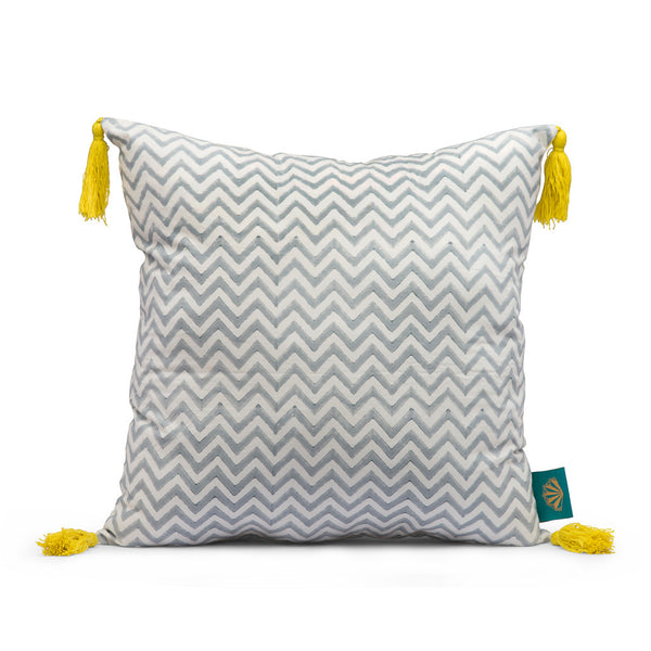 Grey yellow block print cushion