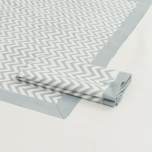 Grey zigzag chevron blockprint tablecloth napkin Indian cotton East London Parasol Company