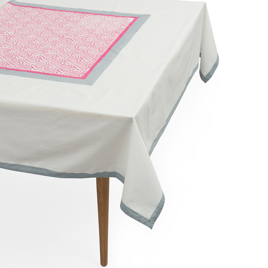 Grey and Pink Peacock Tablecloth