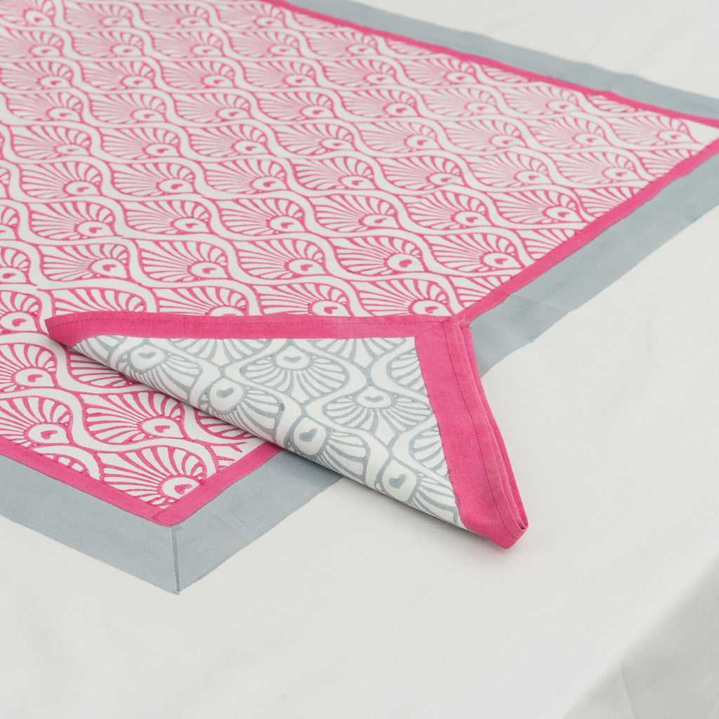 pink block print tablecloth