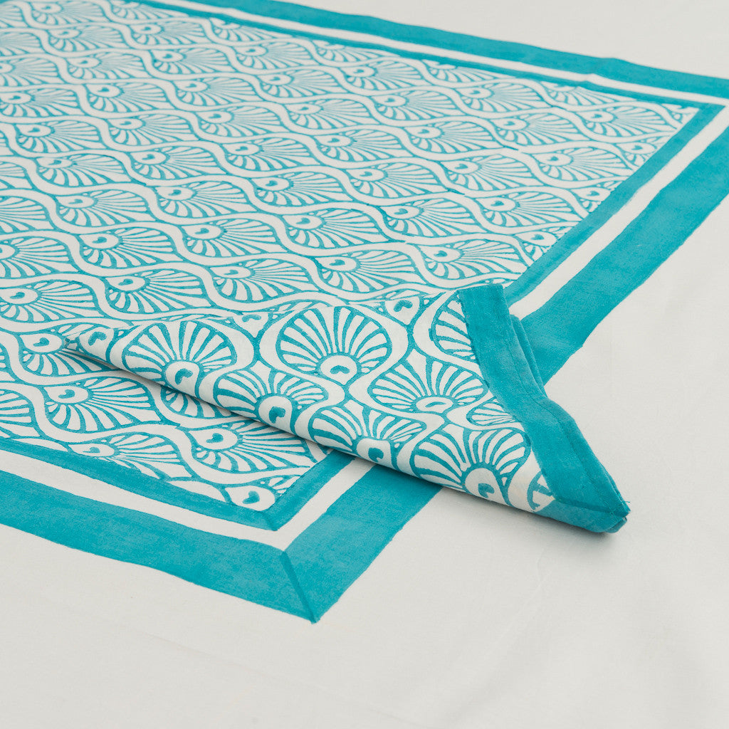 Turquoise Peacock Tablecloth