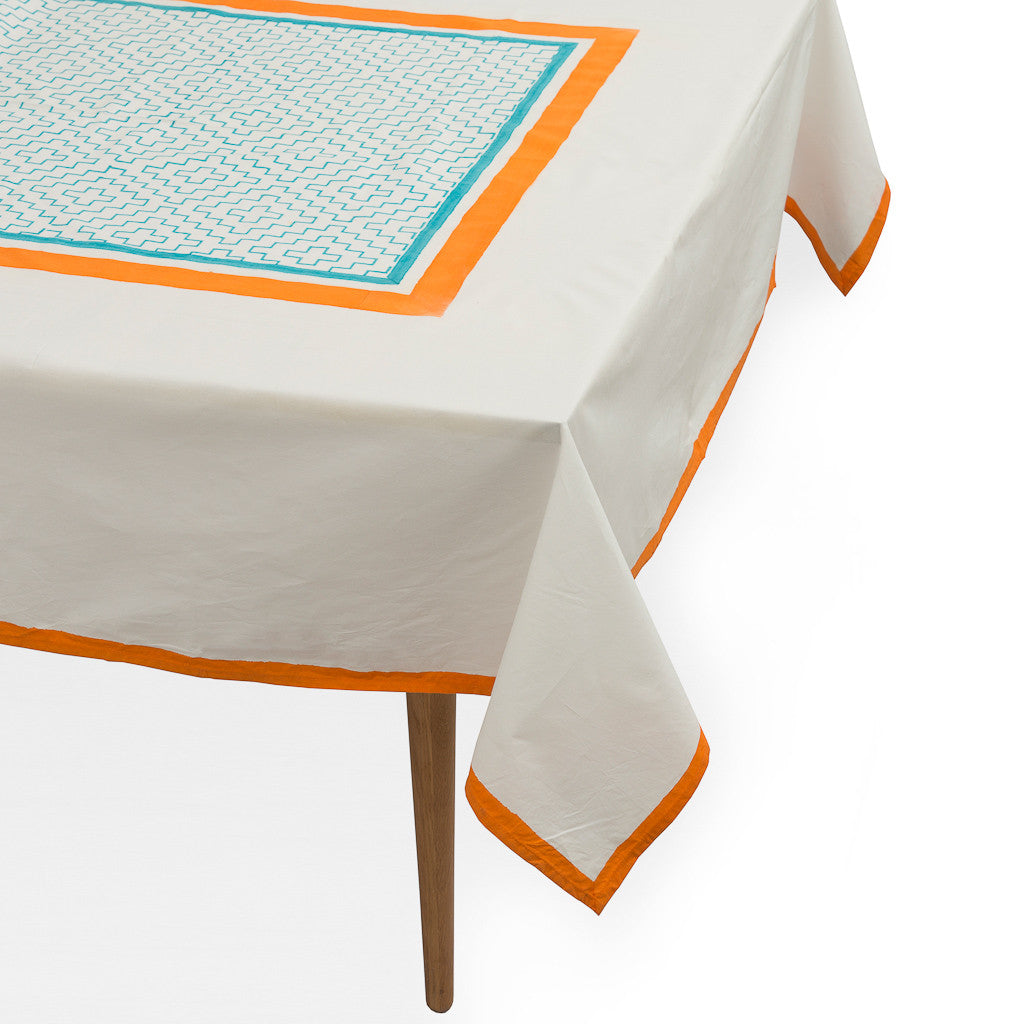 Orange and turquoise block print tablecloth