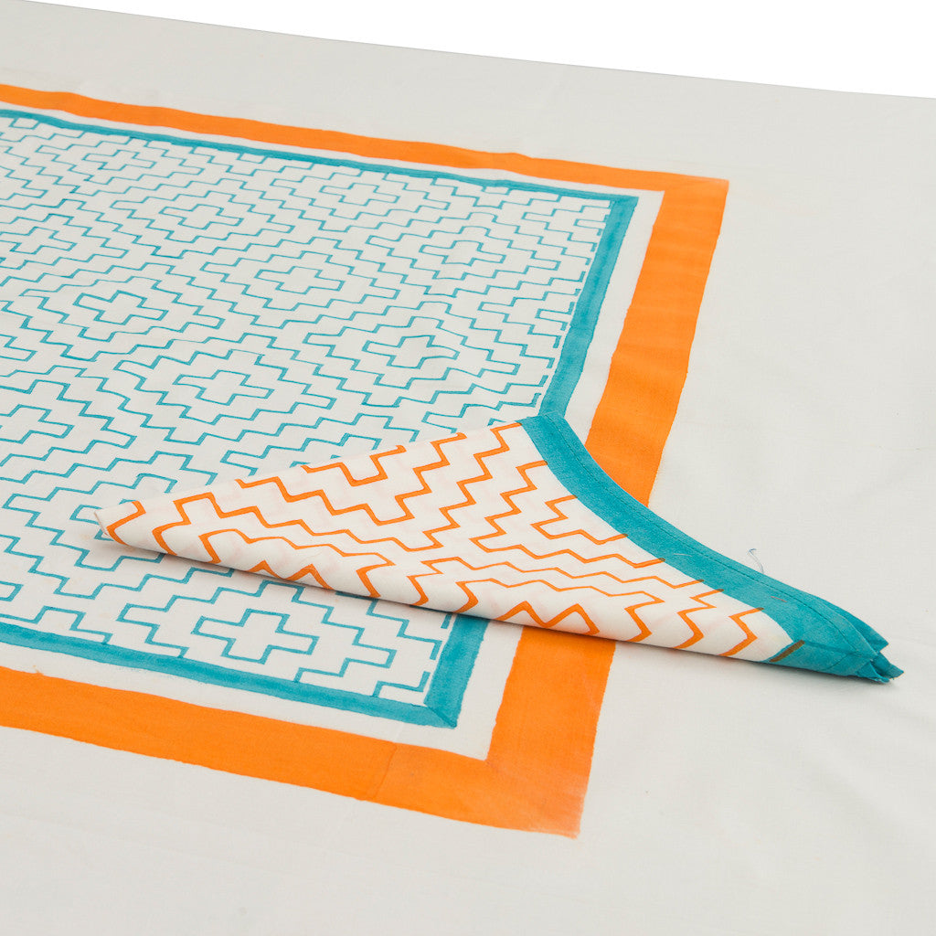 Orange turquoise block print tablecloth