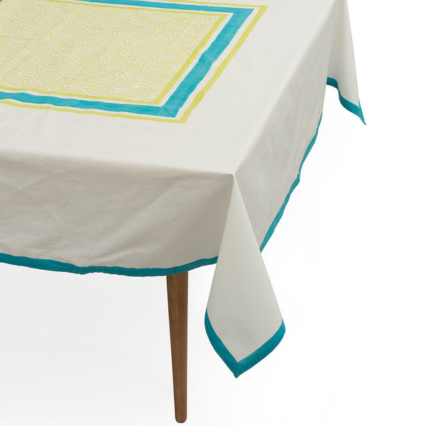 Green and turquoise peacock Balinese blockprint tablecloth napkin Indian cotton East London Parasol Company