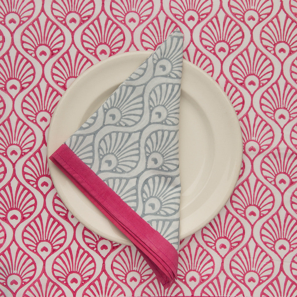 Grey and Pink Peacock Napkins (6)