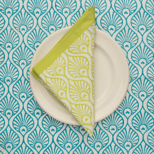 Lime green peacock blockprint tablecloth napkin Indian cotton East London Parasol Company