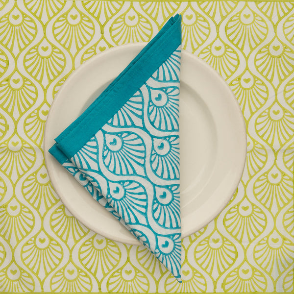 turquoise balinese blockprint tablecloth napkin Indian cotton East London Parasol Company