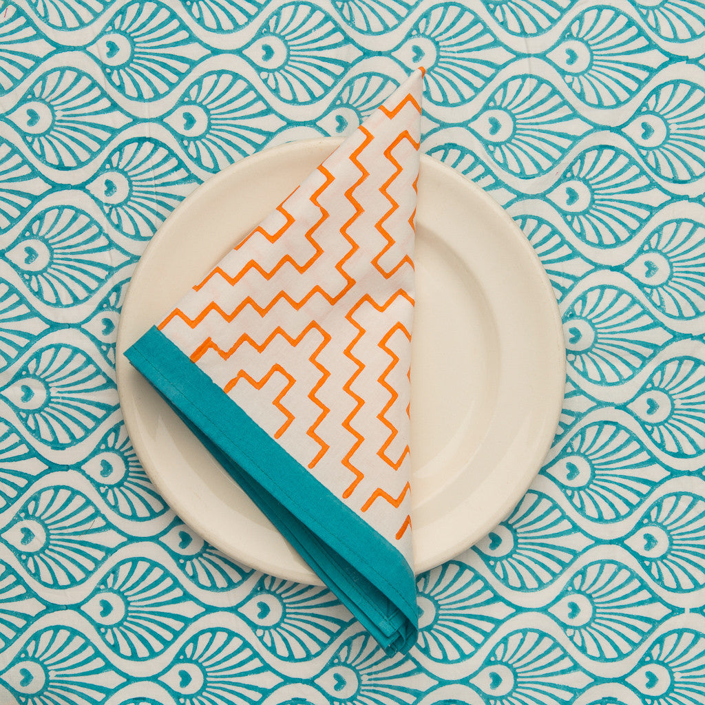 orange block print napkins