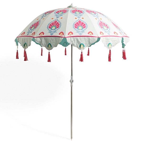 Dolly- pretty pink, blue and green bohemian tilting parasol. Handmade in India, the prettiest and most colourful garden umbrella. The ultimate summer accessory.