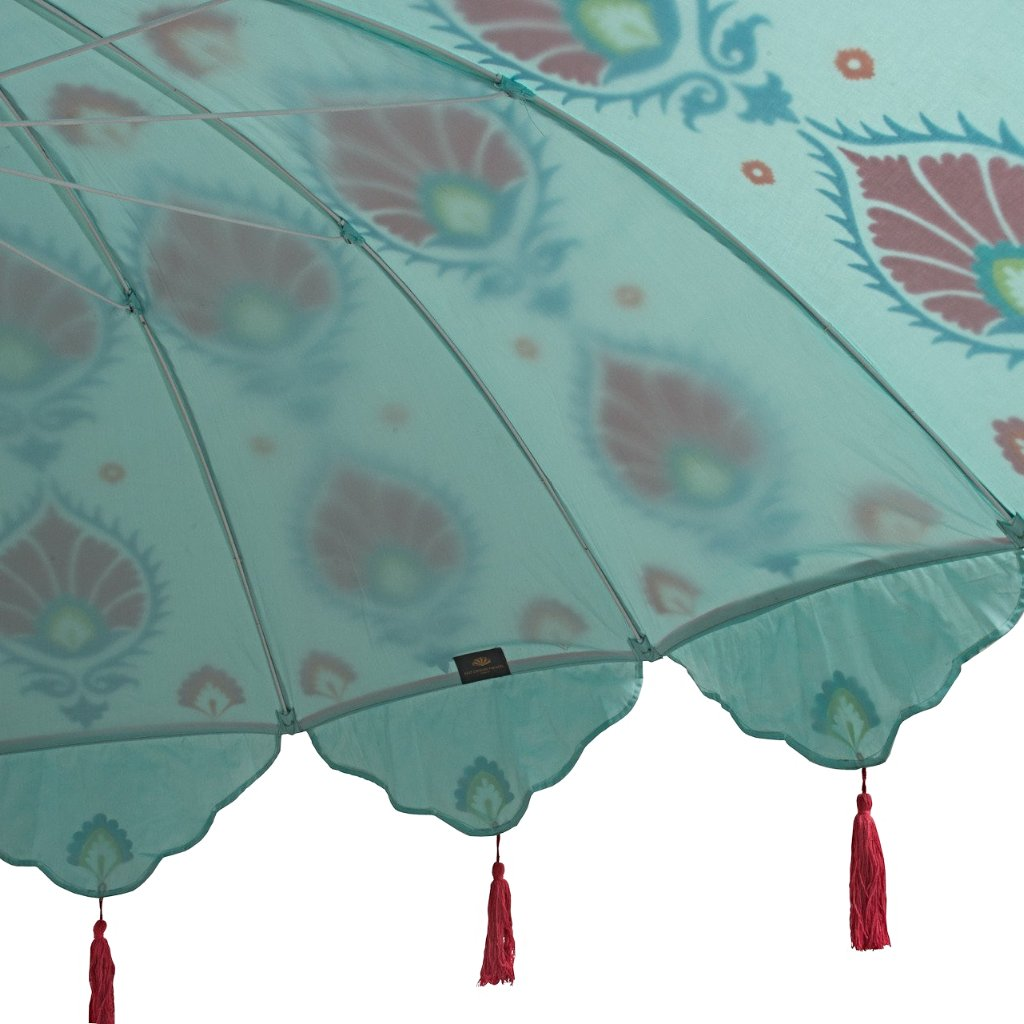 Suzani block print pink blue taffeta parasol with tassels made in India by east london parasol company