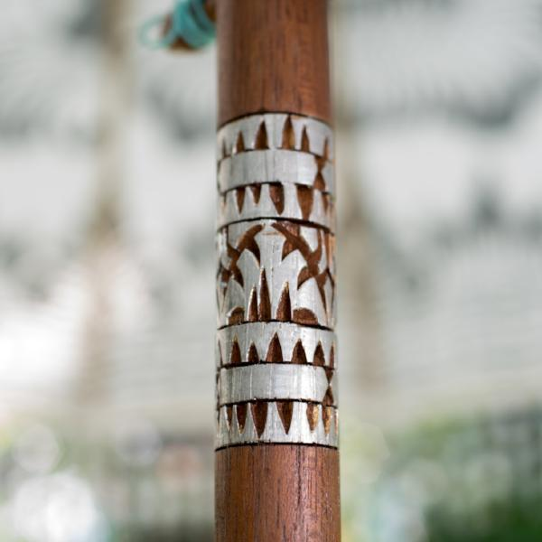 hand carved wooden parasol pole silver painted