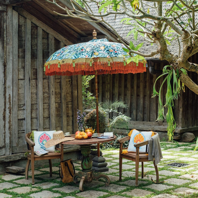 William Morris print parasol. East London parasol company garden umbrellas. Beautiful luxury pretty garden accessories
