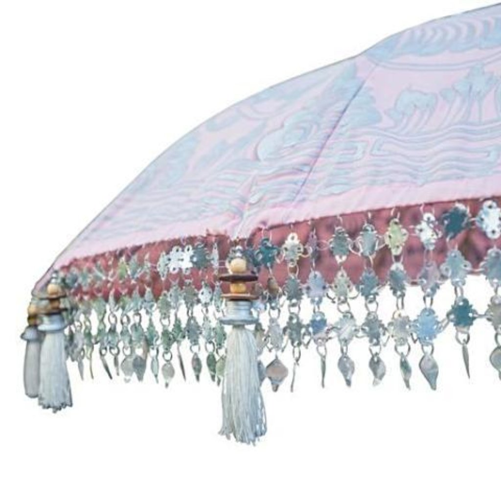 Stevie parasol pink silver garden umbrella from Bali