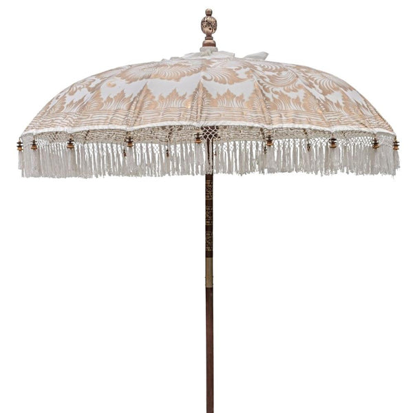 Liberace parasol in white and gold balinese made in bali for east london parasol company
