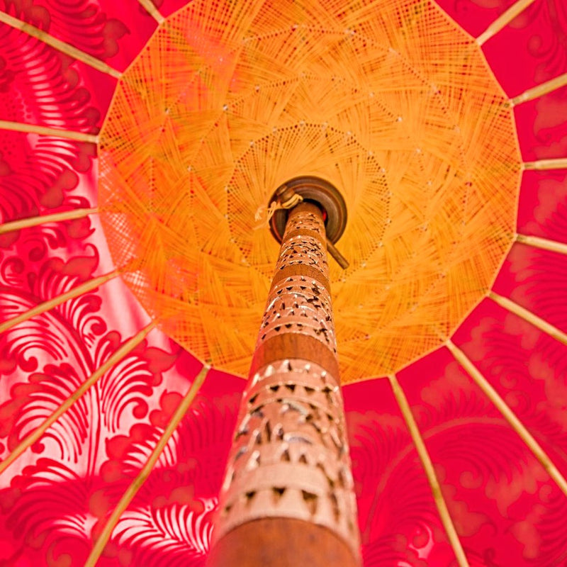 whitney parasol pink- inside threading yellow orange gold balinese umbrella east london parasol company