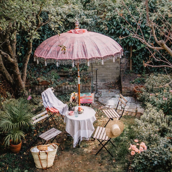 Pale pink and silver garden parasol. Very pretty and colourful handmade garden umbrella for East London Parasol Company