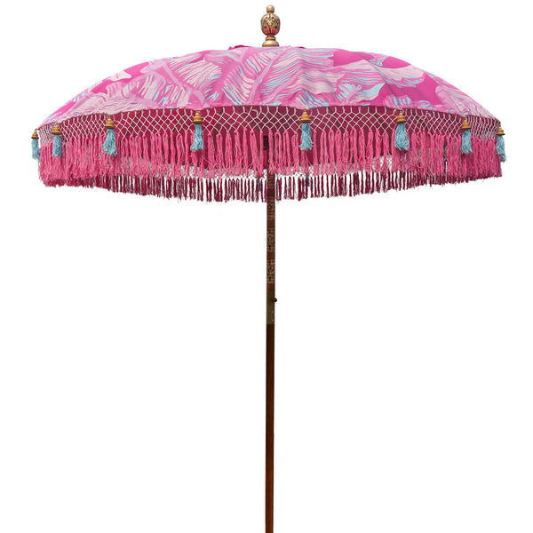 Pink Nina Round Bamboo Parasol- delivery July