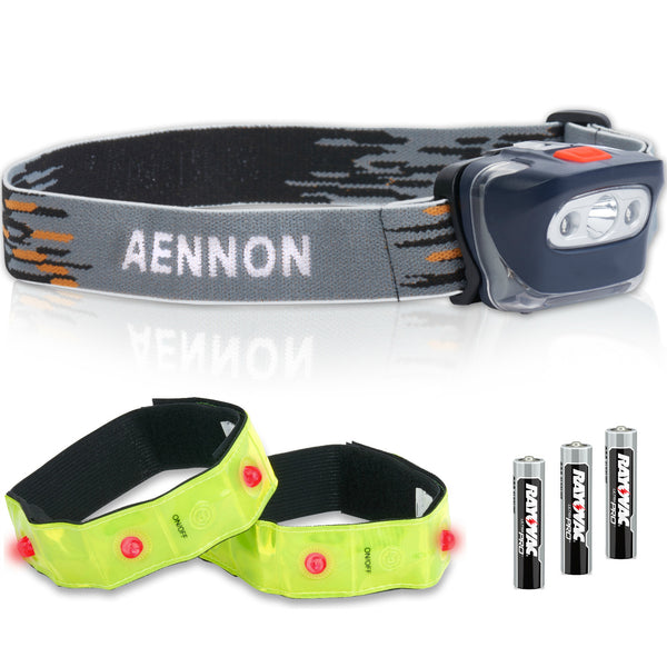 LED Headlamp Flashlight + 2x Safety Armbands from best online store