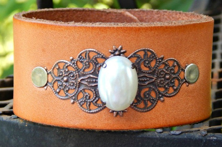 Pearl Filigree Leather Cuff Bracelet