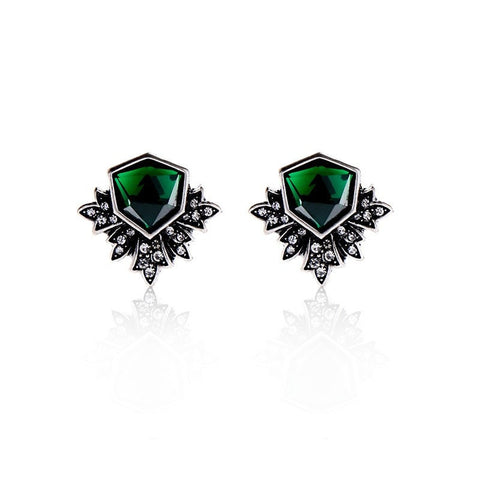 Antique Silver Plated Green Stud Earrings