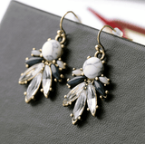 MARBLE VOGUE STONE WHITE DROP EARRINGS - SWANL