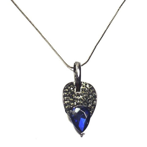 BLUE CRYSTAL LEAF LAYER DROP PENDANT - SWANL
