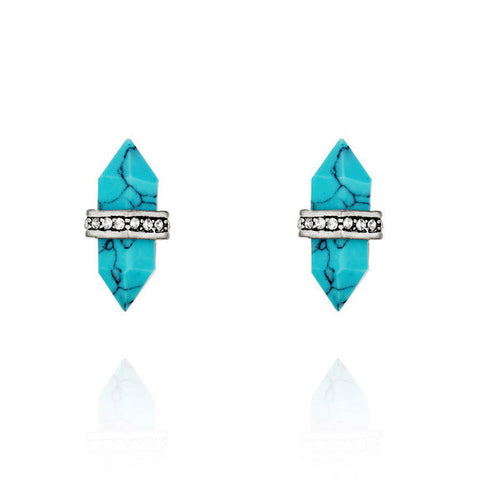TURQUOISE DUAL CONE STUD EARRINGS - SWANL