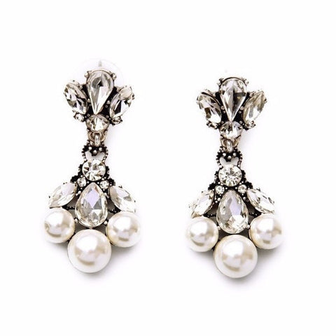 PEARL WHISP DROP STATEMENT EARRINGS - SWANL