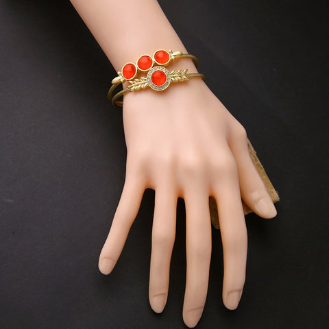 Round Red Open Ethnic Bangle