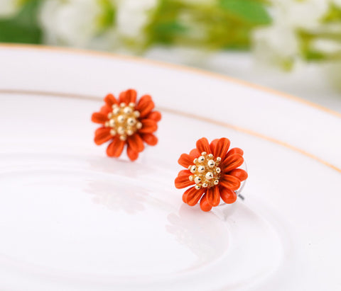 Centine Flower Orange Stud Earrings | SWANL
