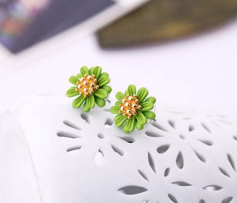 Centine Flower Green Stud Earrings