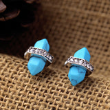 TURQUOISE DUAL CONE STUD EARRINGS | SWANL