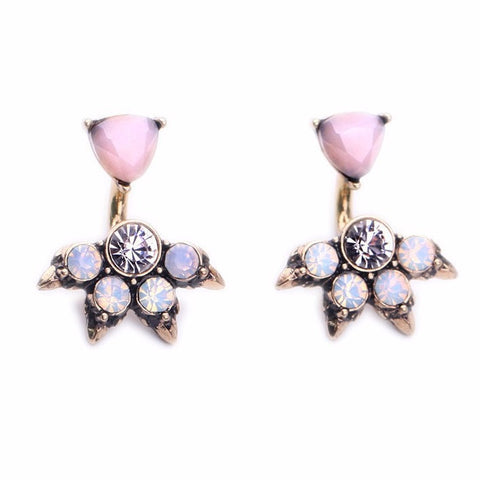 PINK OPAL GOLD PLATED STUD EARRINGS - SWANL