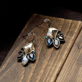 GEOMETRIC PLANT DROP EARRINGS - SWANL