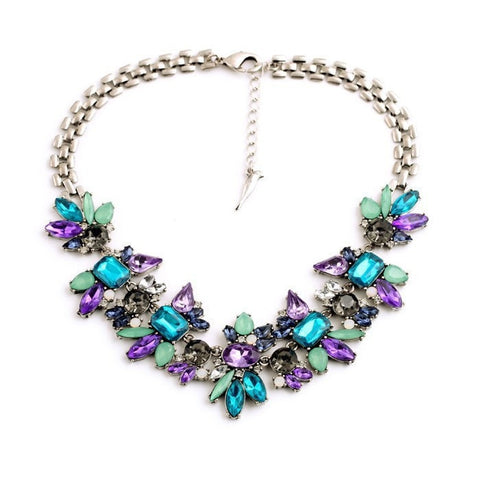 COLLAR CRYSTAL FLORAL STATEMENT NECKLACE - SWANL