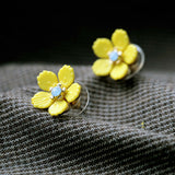 YELLOW FLOWER BLOOM STUD EARRINGS - SWANL