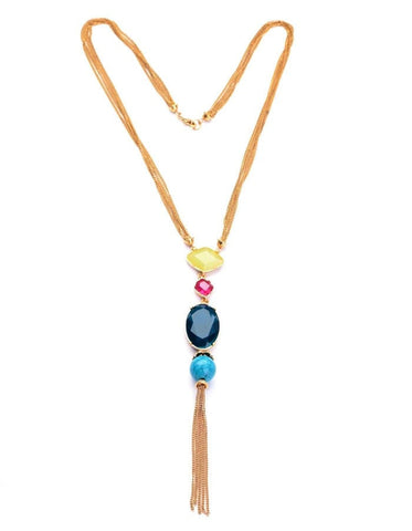 18K GOLD PLATED BEADED LONG PENDANT NECKLACE - SWANL